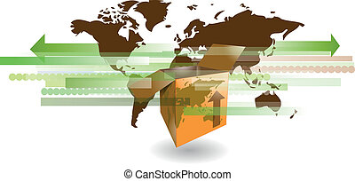 Cardboard shipping box with world map for international...