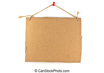 cardboard sign background message a rope hanging