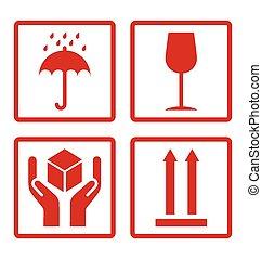 Cardboard symbols - Red cardboard symbols isolated on white...