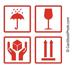 Cardboard symbols - Red cardboard symbols isolated on white...