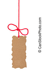 Cardboard tag with bow