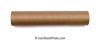 Cardboard tube isolated on white background