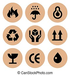 Cardboard Vector Icons Set Collection