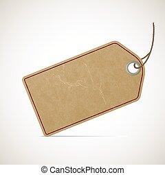 Cardboard vintage price tag in retro style. Stock vector illustr
