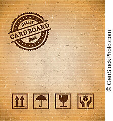 Cardboard with package signs - Cardboard with set of package...