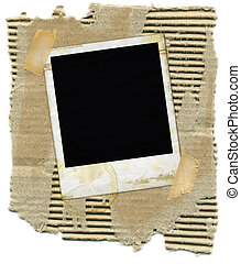 Cardboard with Polaroid - Ripped corrugated cardboard with...