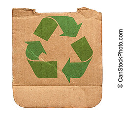 cardboard with recycle symbol - torn out piece of cardboard...