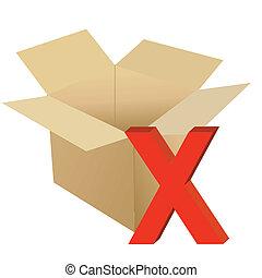 Cardboard with x mark illustration