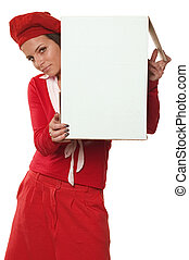 Cardboard - Young girl dressed at red clothes holding box of...