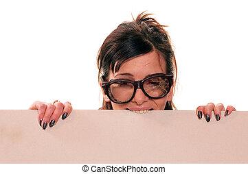 Cardboard - Young girl with broken eyeglasses chew cardboard...