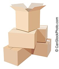 Cardboardbox - Pile of cardboard boxes on a white background