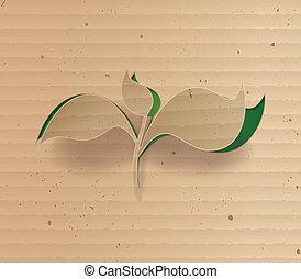 cardbord, planta, glowing, conceito
