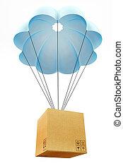 Cardbourd box with parachute concept