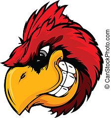 cardeal, ou, pássaro vermelho, cabeça, caricatura