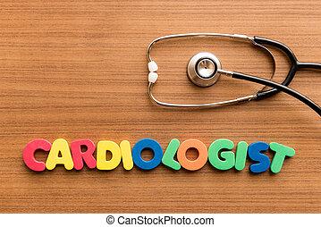 cardiólogo, palabra, colorido