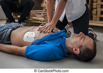 cardiac compression chest - rescuer assistance with cardiac...