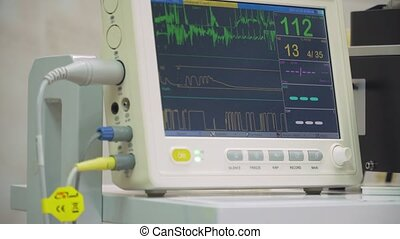 Electrocardiogram in hospital surgery operating theater emergency room showing patient heart rate. Monitoring patient's vital sign in operating room. Cardiogram monitor during surgery in operation room.