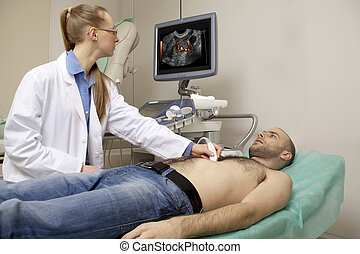 cardiac ultrasound examination testing on young man