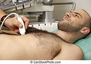 cardiac ultrasound examination testing on young men