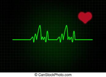 cardiacos, frequência, com, coração, forma.