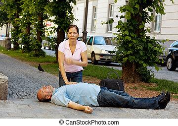 cardiacos, massage., primeiros socorros, para, ataque cardíaco