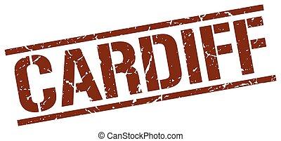 cardiff, brauner, quadrat, briefmarke