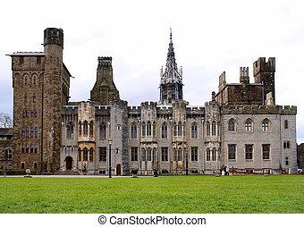 cardiff, castillo, y, dentro, gardens., wales.