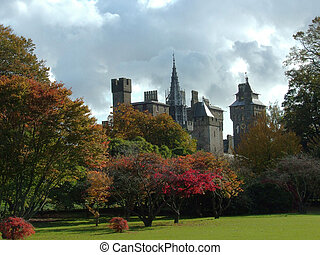 Cardiff Castle at Autumn from Bute Park