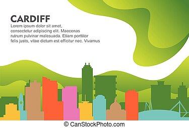 Cardiff City Building Cityscape Skyline Dynamic Background Illustration