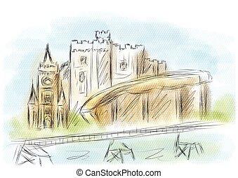 cardiff. fbstract illustration of landmark on multicolor background
