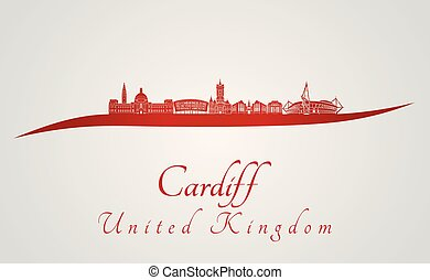 Cardiff skyline in red and gray background in editable vector file