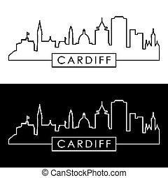 Cardiff skyline. Linear style. Editable vector file.
