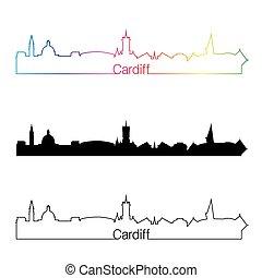 Cardiff skyline linear style with rainbow in editable vector file