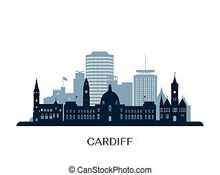 Cardiff skyline, monochrome silhouette. Vector illustration.