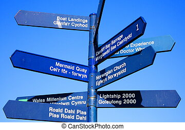 Cardiff  Wales street signpost giving directions to some of the cities most popular landmark attractions