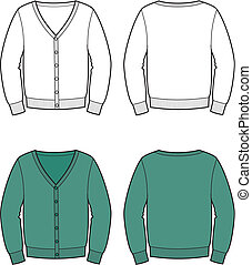 Cardigan - Vector illustration of men's cardigan. Front and...