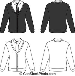 Cardigan with necktie - Template outline illustration of a...