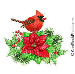 Cardinal and Christmas decoration