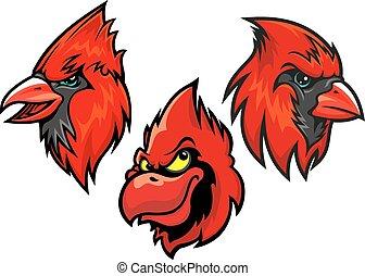 Cardinal bird heads set - Cartooned red cardinal birds heads...