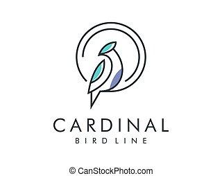 cardinal bird modern line logo, vector illustration