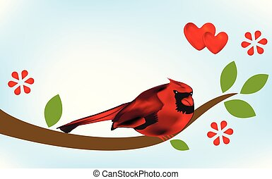 Cardinal bird on branch tree image template - Cardinal bird ...