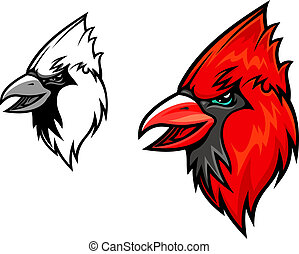 Cardinal birds - Red cardinal bird head in cartoon style. ...