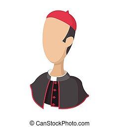 cardinal, catholique, icône, dessin animé, prêtre