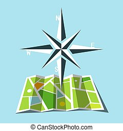 Cardinal direction Symbol with Map - Vector