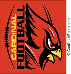 cardinal football team design with mascot and laces for...