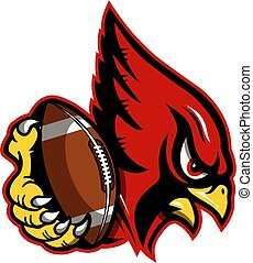 cardinal football mascot holding ball in claw for school, ...