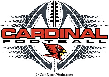 cardinal football team design with mascot and ball for ...