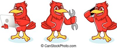 Cardinal Mascot with phone