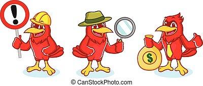Cardinal Mascot with sign