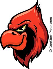 Cardinal red bird head vector icon - Cardinal bird vector...